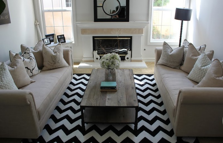 Beautiful Living Room Design With White U0026 Black Zigzag Chevron Rug,  Industrial Cocktail Table, Camel Rolled Arm Sofas, Pillows, Fireplace,  Spool Floor Lamp ...