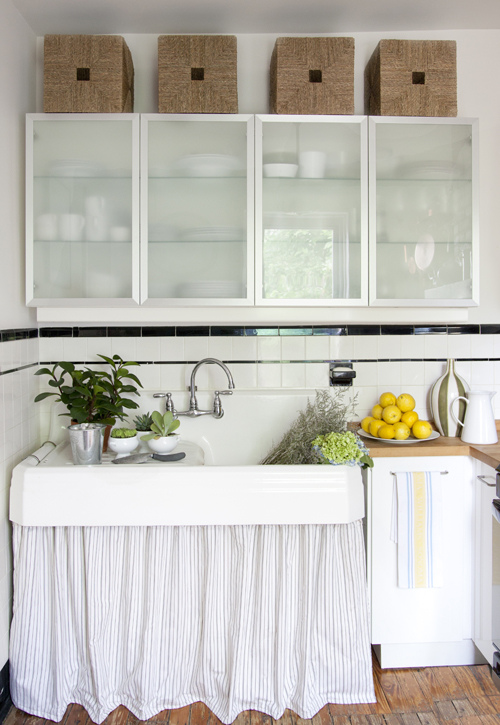 FRsoted Glass Cabinets - Vintage - kitchen - The Elegant Abode