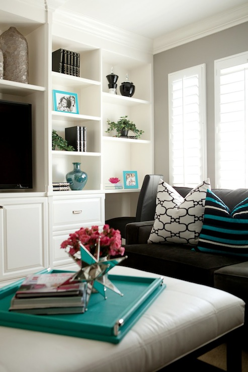 gray and turquoise blue living rooms - transitional - living room