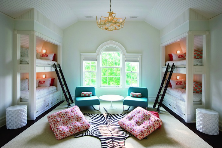 Built in bunk beds contemporary girl 39 s room - Bunk bed decorating ideas ...