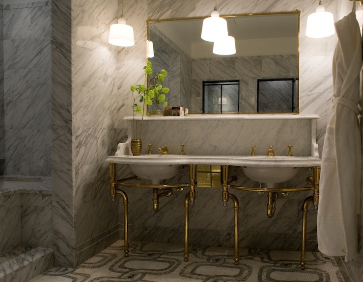 view full size. Mosaic Marble Bathroom Floor Design Ideas