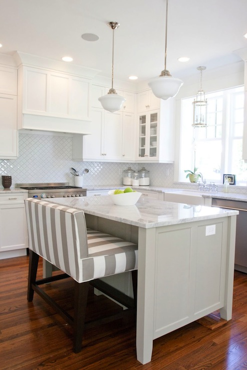 Striped Island Bench - Transitional - kitchen - Benjamin Moore Dune ...