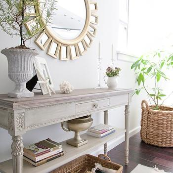 Charming View Full Size. Lovely, Elegant Foyer With Sunburst Mirror, French Vintage White  Washed Console Table ...