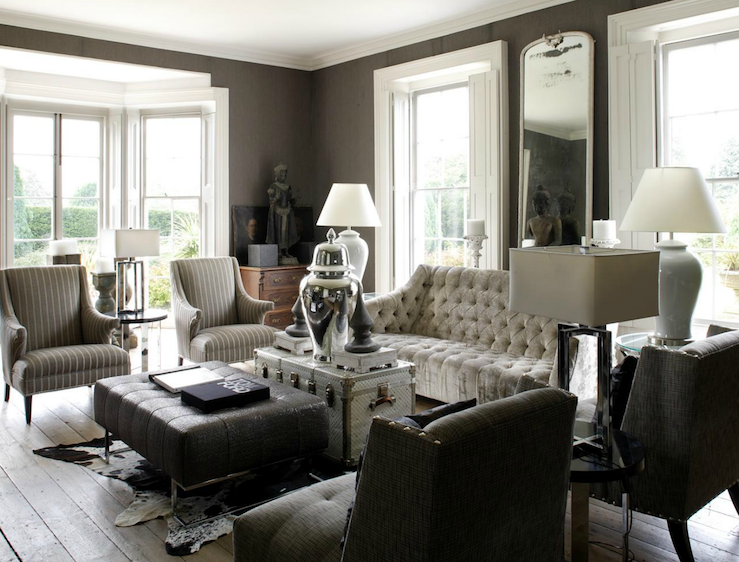 Gray tufted sofa eclectic living room 1st option for Living room decorating ideas grey couch