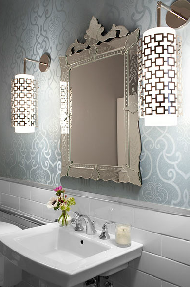 Jonathan Adler Parker Pendants Transitional Bathroom