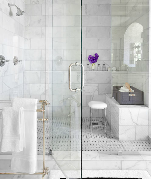 Marble Walk In Shower Transitional Bathroom Mark