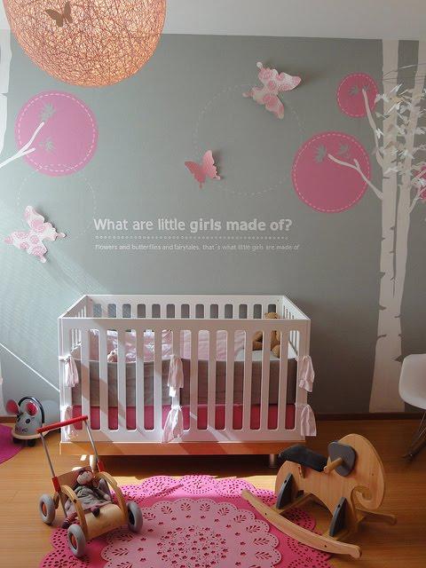 gray and pink nursery contemporary nursery. Black Bedroom Furniture Sets. Home Design Ideas