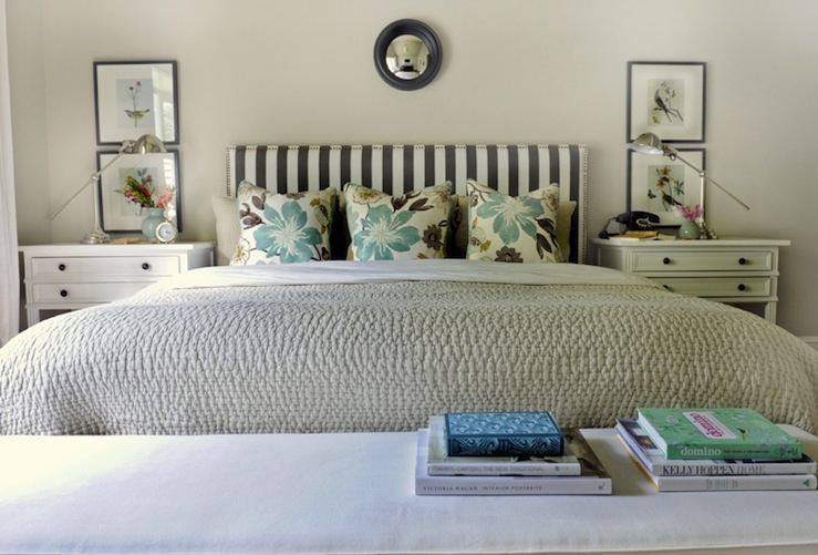 Striped Headboard Transitional Bedroom Ralph Lauren