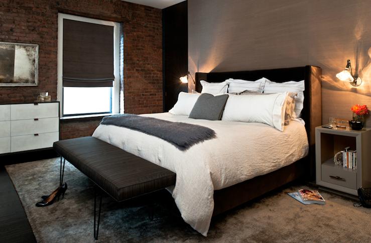 Wingback upholstered headboard contemporary bedroom for Black brick wallpaper bedroom