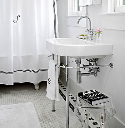 via this is glamorous white u0026 black monogrammed shower curtain white porcelain washstand with polished nickel base polished nickel gooseneck faucet