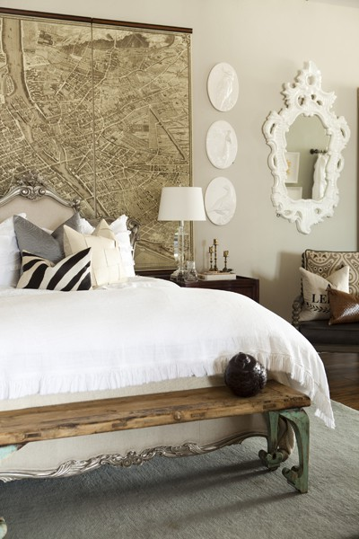 Map Headboard Eclectic Bedroom