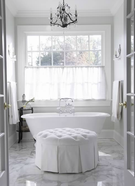 White Tufted Ottoman Traditional Bathroom Freeman