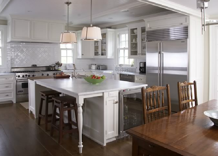 White Shaker Cabinets Transitional Kitchen
