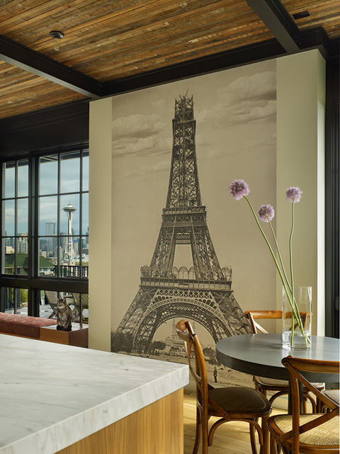 Eiffel tower mural contemporary dining room janof for Dining room mural wallpaper