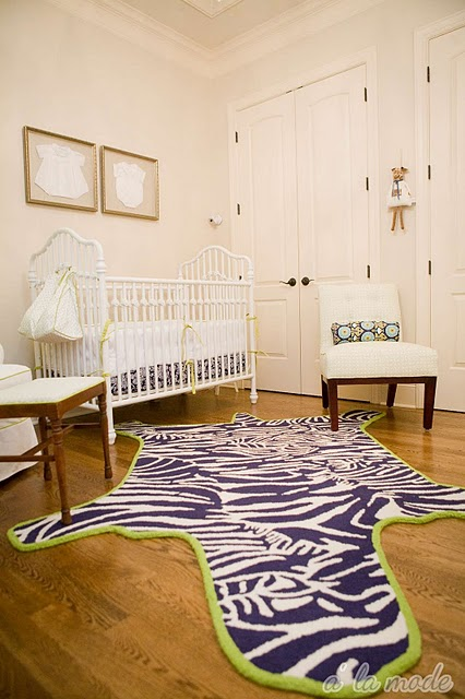 Navy Zebra Rug Contemporary Nursery Sherwin Williams
