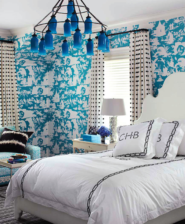 Pat Healing   Eclectic bedroom design with white   blue toile wallpaper   blue milk glass bottles Sara Chandelier  ivory leather bed  ivory  nightstands. Black and Turquoise Bedrooms   Contemporary   Bedroom