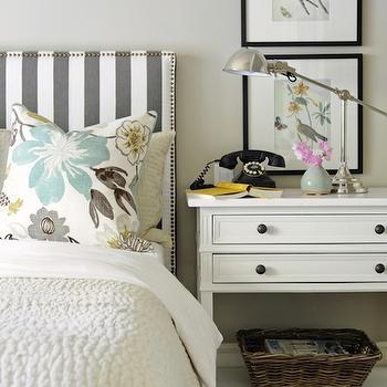 Striped Headboard, Transitional, bedroom, Ralph Lauren Barn Owl White, Kerrisdale Design