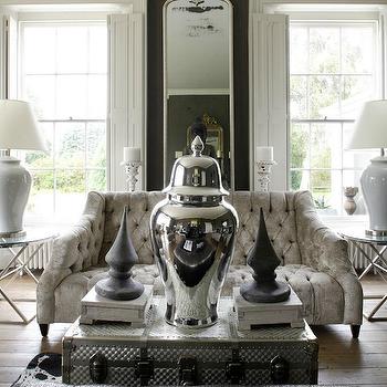 Gray Velvet Sofa, Eclectic, living room, 1st Option