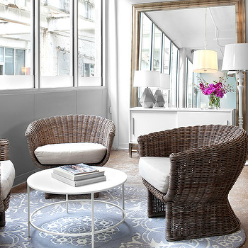 Wicker Chairs, Transitional, living room, Mark Williams Design