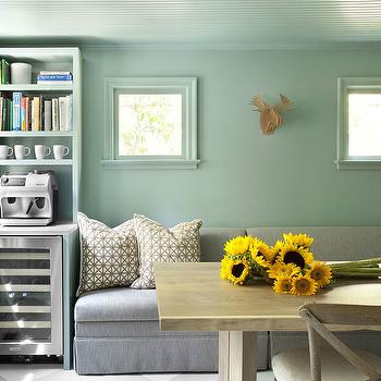 Gray Dining Bench, Transitional, dining room, Mark Williams Design