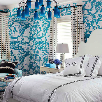 Turquoise Toile Wallpaper, Contemporary, bedroom, House Beautiful