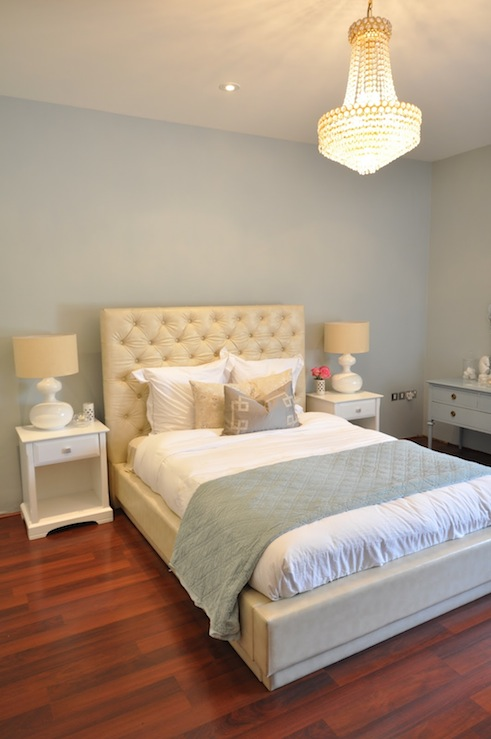 gorgeous bedroom design with blue gray walls paint color ivory
