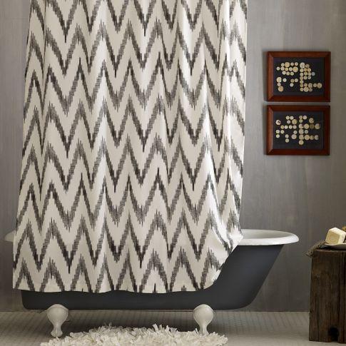 Grey And White Chevron Shower Curtain. Chevron Shower Curtain  west elm Green White Print