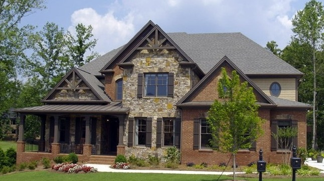 Home exterior for Stone and brick home designs