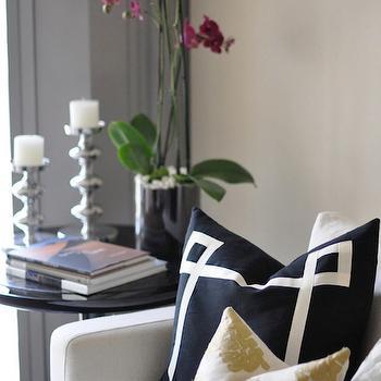 Black Greek Key Pillow, Contemporary, living room, Caitlin Wilson Design