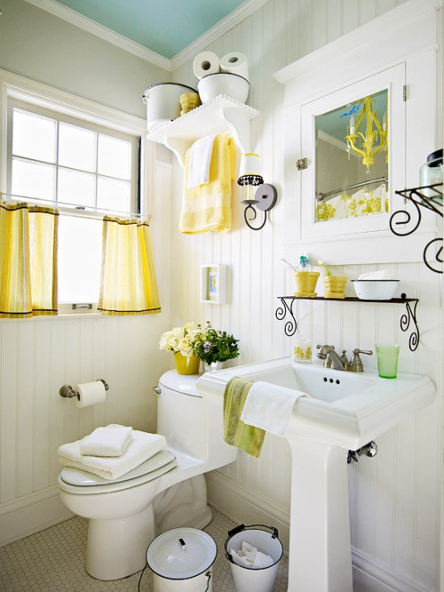 Fresh Blue Yellow Cottage Bathroom Design With Turquoise Blue Painted Ceiling Beadboard White Pedestal Sink Penny Tiles Floor Buckets White Medicine