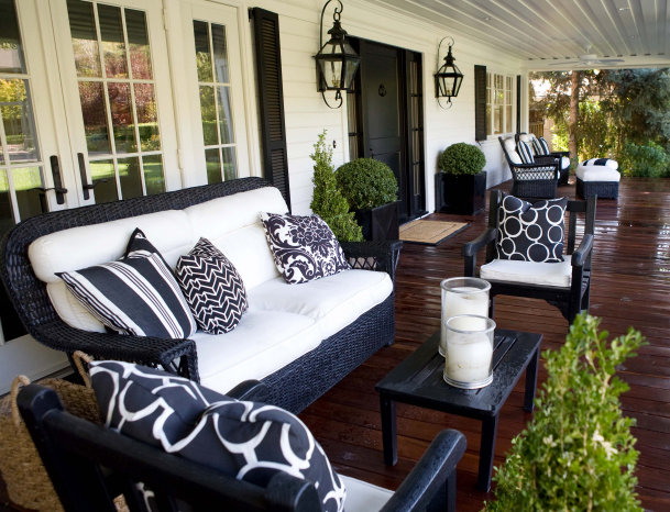 Outdoor sitting area transitional porch kriste for Black porch furniture