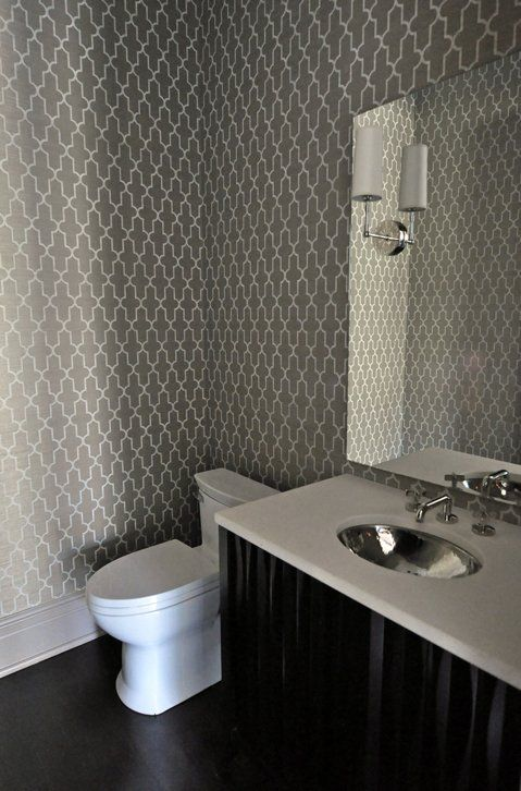 amazing powder room design with white charcoal gray moorish tiles wallpaper espresso stained bathroom cabinet hammered metal sink and polished nickel - Wallpaper For Bathroom