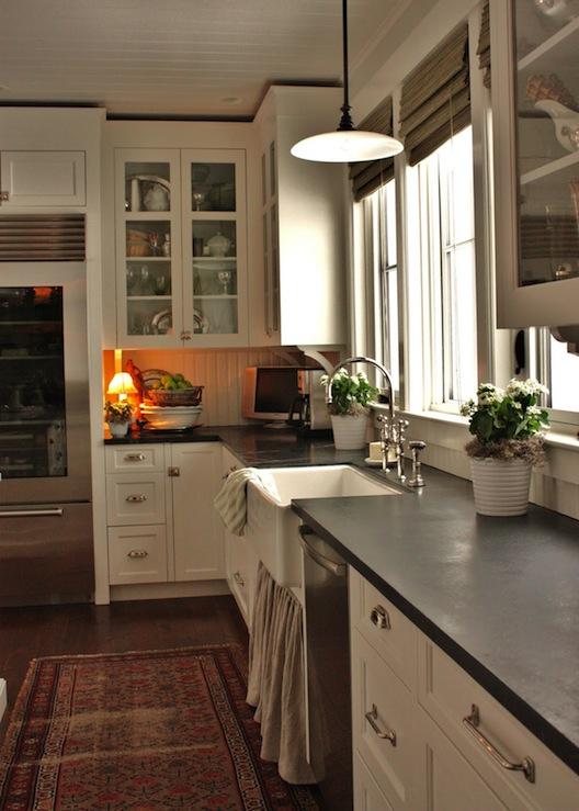 Skirted Kitchen Sink - Cottage - kitchen - Benjamin Moore White ...