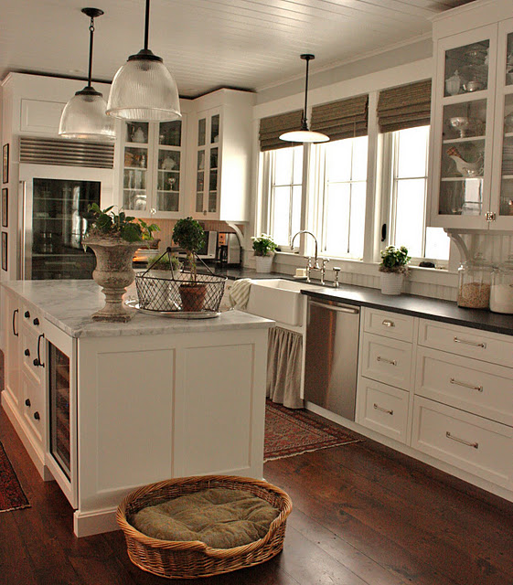 Kitchen Cabinets Painted Linen White bianco venatino marble - cottage - kitchen - benjamin moore gray owl