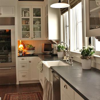 Skirted Kitchen Sink, Cottage, kitchen, Benjamin Moore White Dove, For the Love of a House