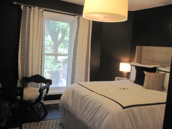 Black and white curtains contemporary bedroom hgtv for Black wall room ideas