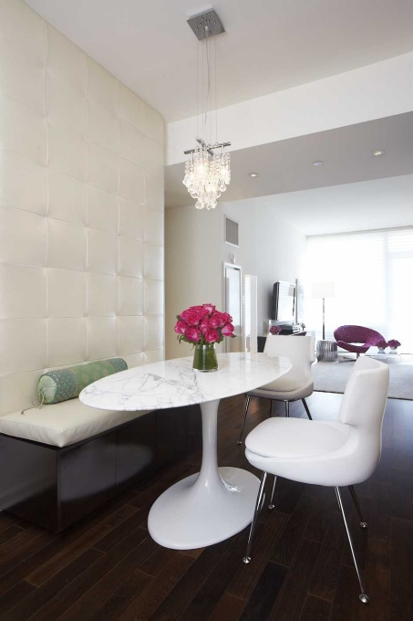 dining chairs crystal chandelier and built in leather banquette with