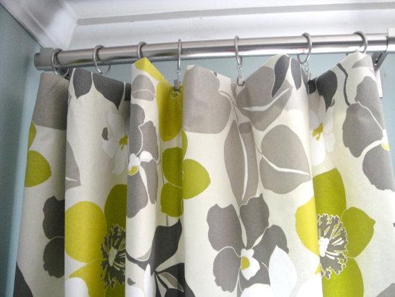 Yellow White Floral Print Window Panels