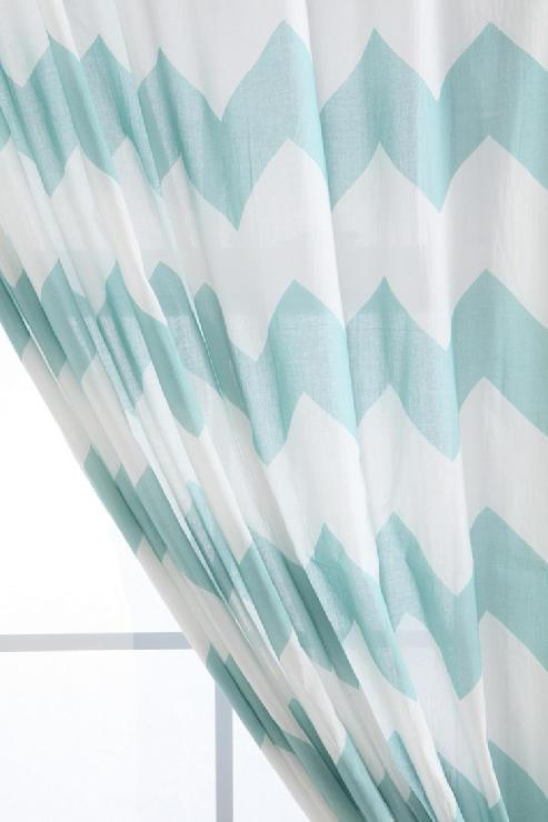 Urbanoutfitters Blue White Chevron Sheer Curtain