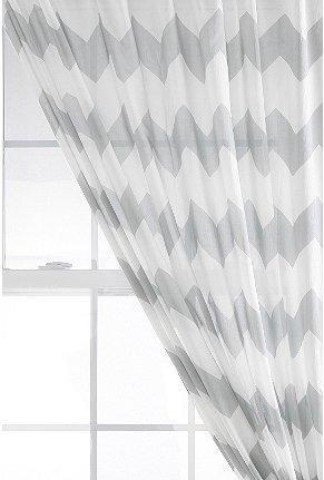 UrbanOutfitters Gray White Sheer Chevron Curtain