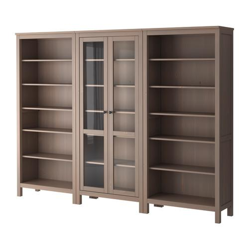Hemnes gray brown center glass storage shelves for Ikea closed bookcases