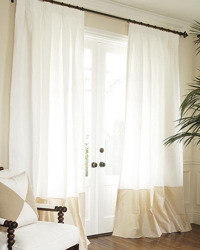 Silk Bordered Classic Linen Custom Drapery Sale In