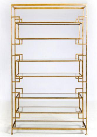 Lamar 7 Shelf Etagere   Gold Leaf With Glass Shelves Luxury Modern Furniture