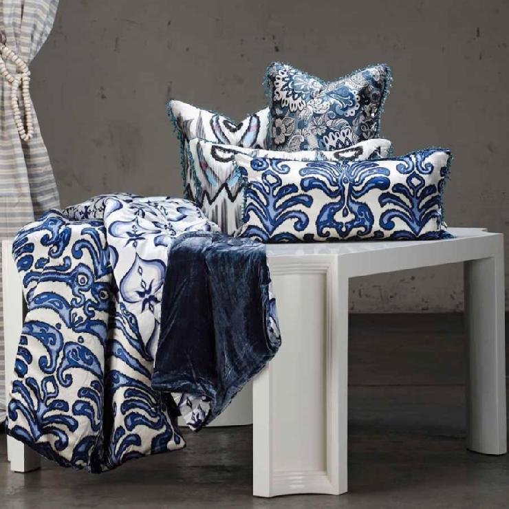 Shine Home Ikat Cobalt Blue Bedding Velvet Silk As