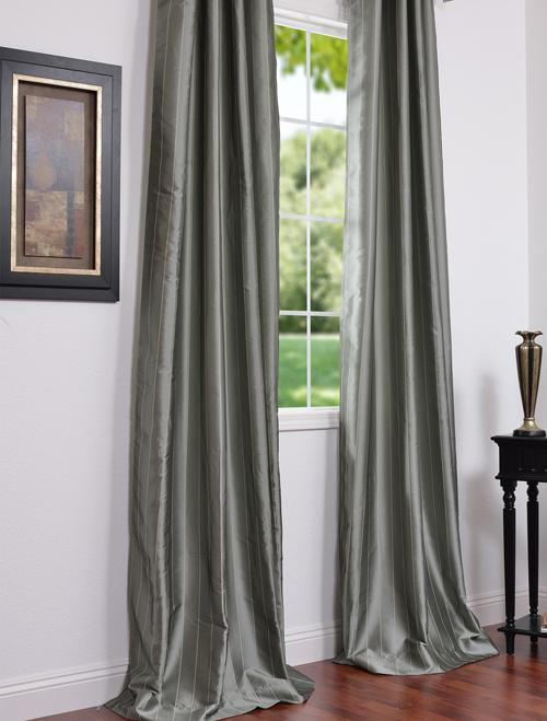 Solid Faux Silk Taffeta Platinum 96 Inch Curtain Panel
