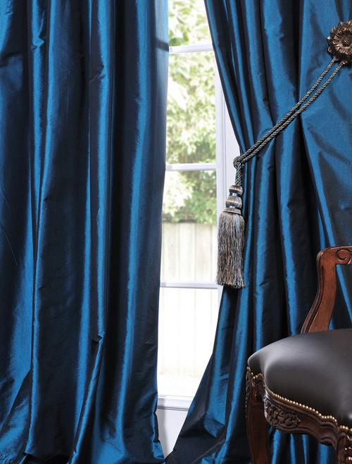 Azul Faux Solid Taffeta Drapes Decorative Silk Valances