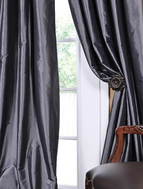Graphite faux solid taffeta silk drapes curtain panels Contemporary drapes window treatments