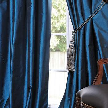 Azul Faux Solid Taffeta Drapes, Decorative Silk Valances & Curtain Panels, Half Price Drapes