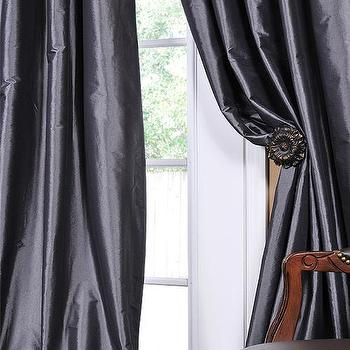 Graphite Faux Solid Taffeta Silk Drapes & Curtain Panels, Modern Window Treatments, Half Price Drapes