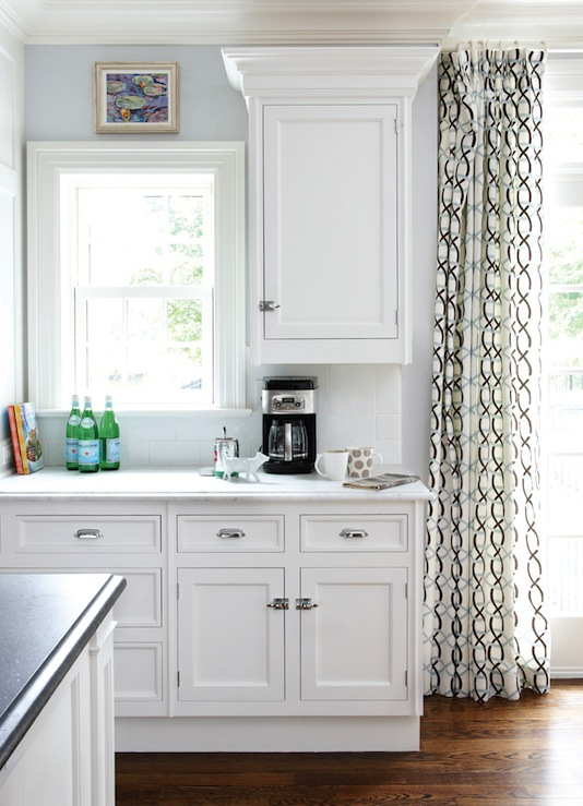 Geometric Curtains View Full Size. Sunny White Kitchen ...